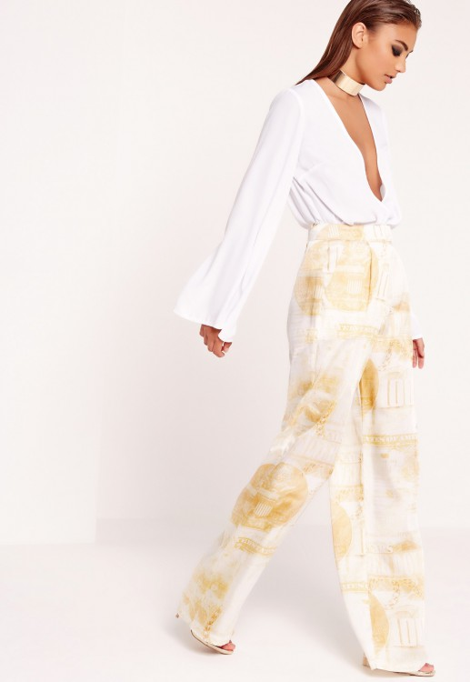 PEACE + LOVE silky dollar print wide leg trousers gold